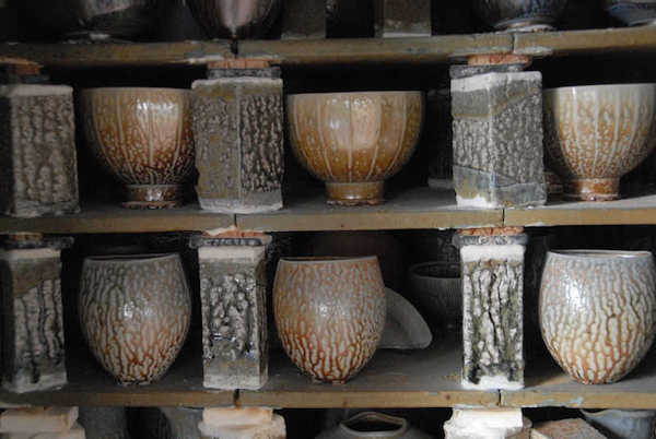 John Dermer Salt glazed pots in kiln