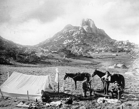 OUR CAMP AT THE HUMP. John Monash, James Manfield, Major Farlowe. c. 1895. The Cathedral in the background. Photographer- Charles Rudd.