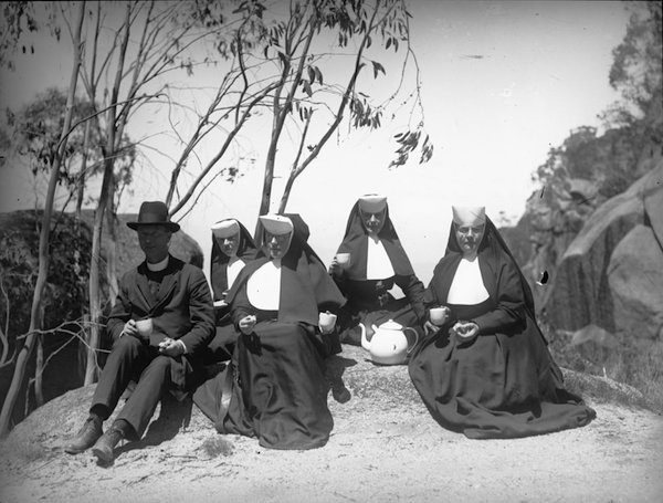nuns on rock